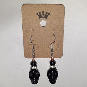 Jasper Skull + Healing Hematite Earrings